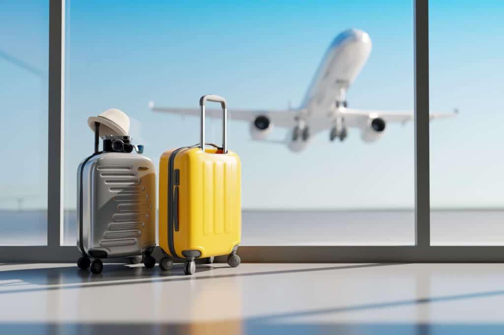 Bagage på flygplats i corona-tider